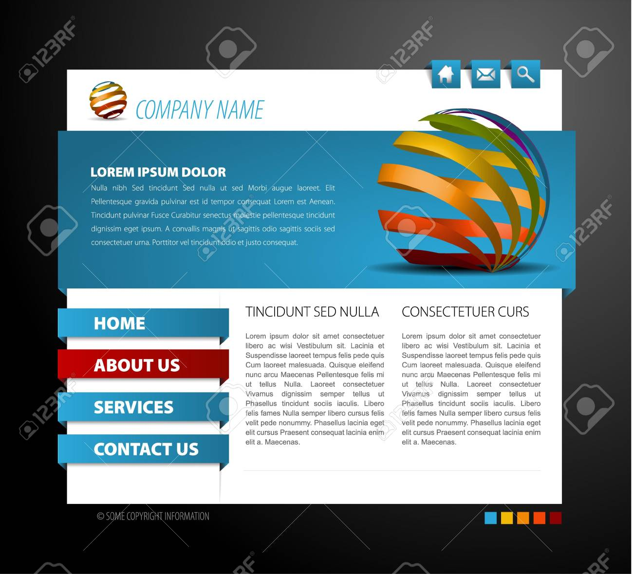 Modern web page template - with 3d navigation items Stock Vector - 7751753