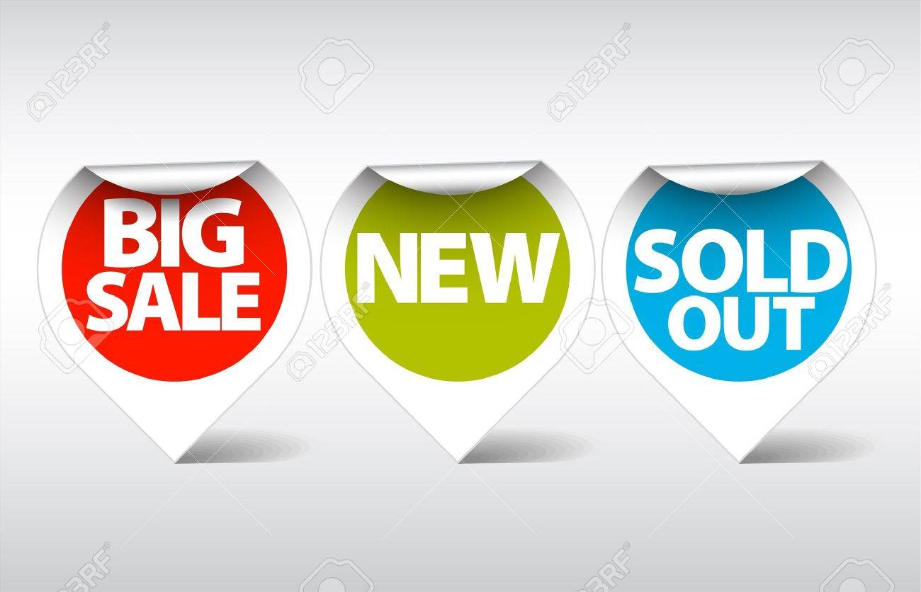 Round Labels / stickers for big sale, new and sold out items Stock Vector - 7779169