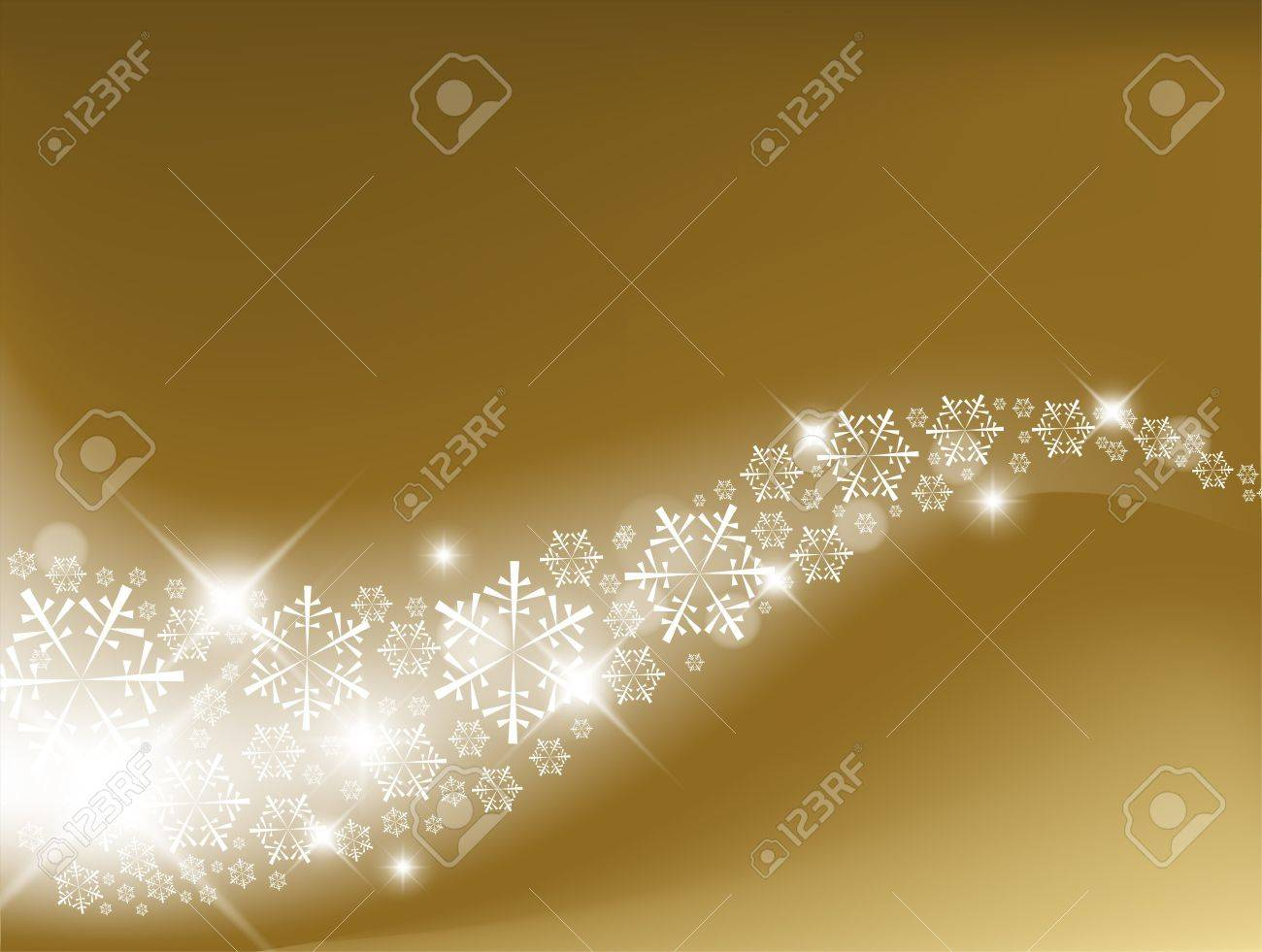 Golden Abstract Christmas background with white snowflakes Stock Vector - 7779203
