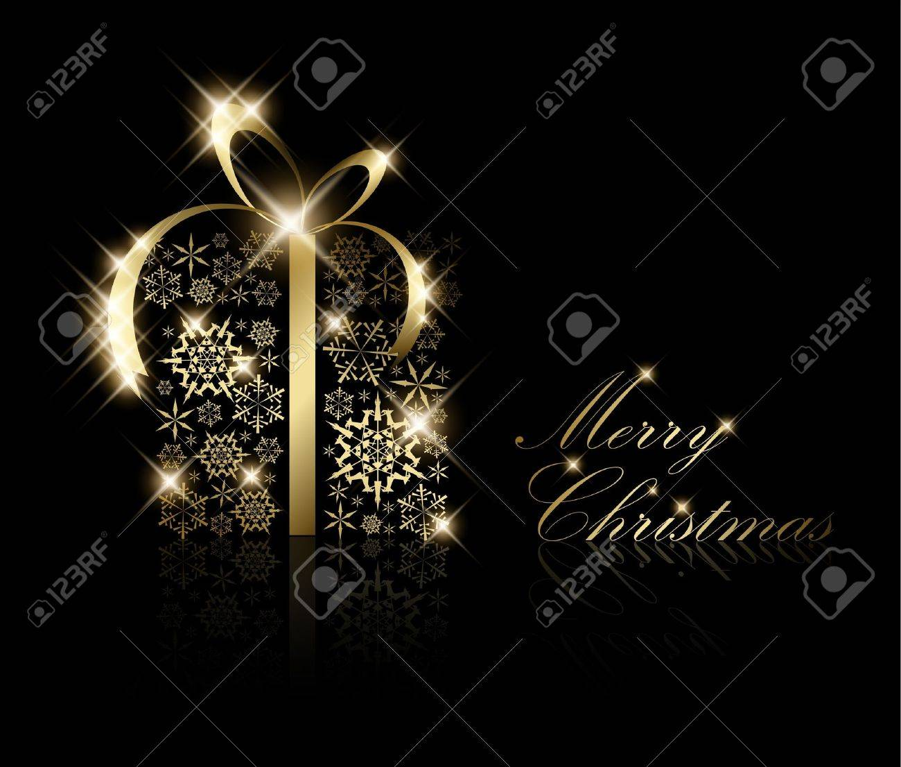 Christmas present box made from golden snowflakes on black (vector) - 7779205