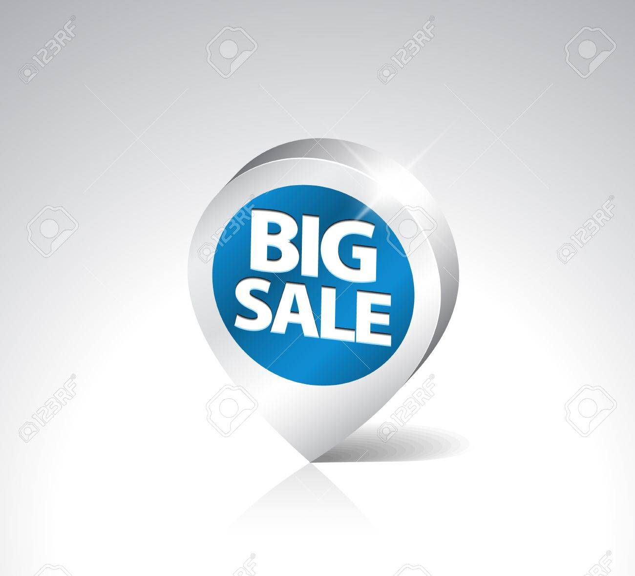 Round 3D pointer for big sale - blue with silver border Stock Vector - 8415152