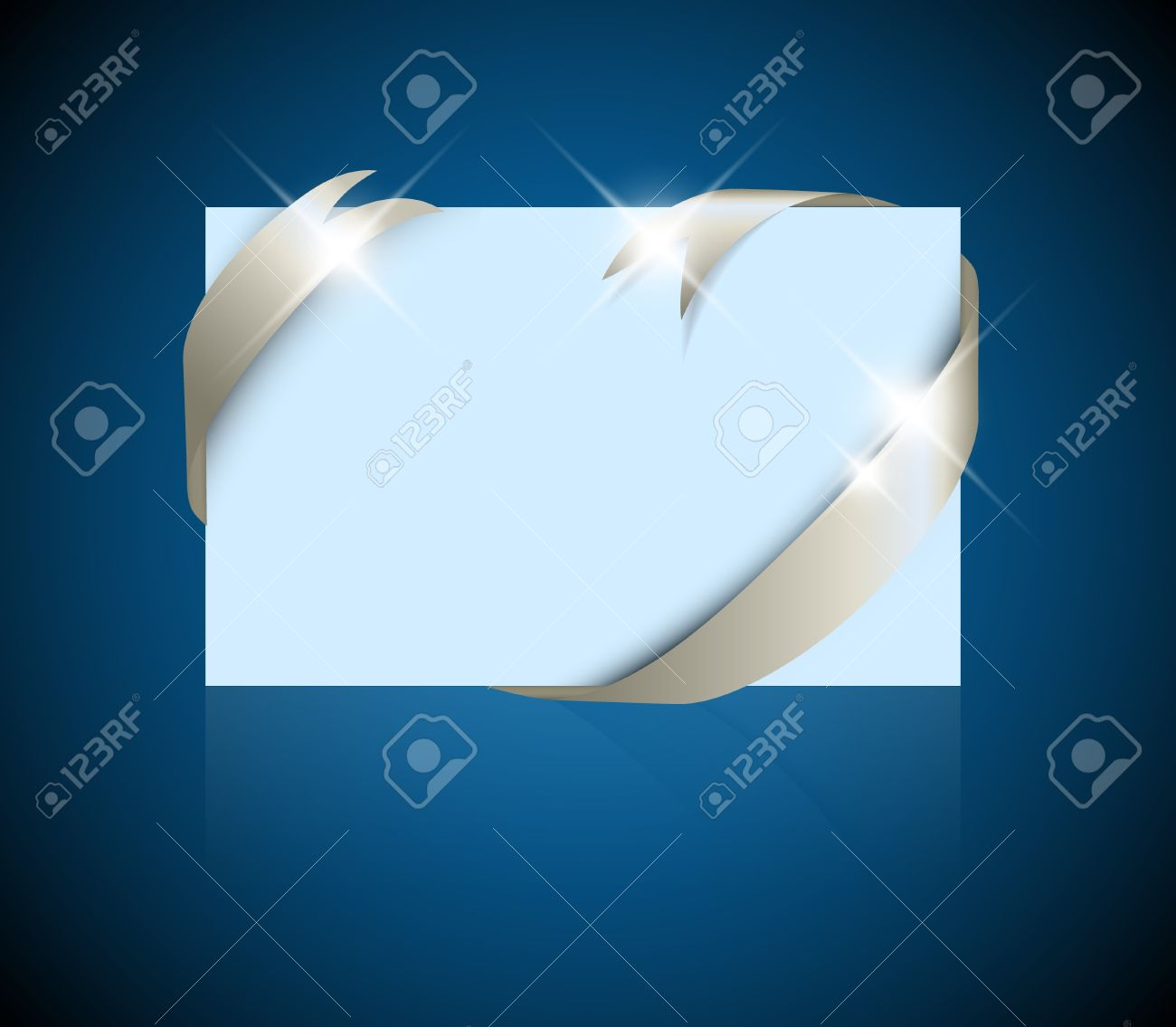 christmas or wedding card silver ribbon around blank blue paper christmas or wedding card silver ribbon around blank blue paper where you should write