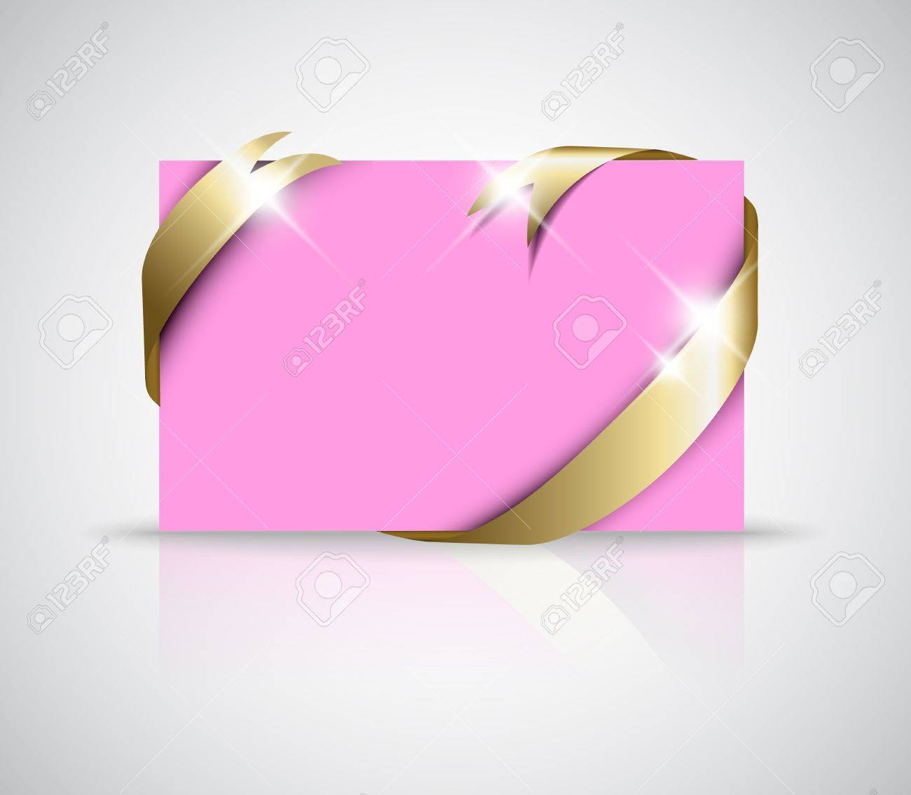 christmas or wedding card golden ribbon around blank pink paper christmas or wedding card golden ribbon around blank pink paper where you should write