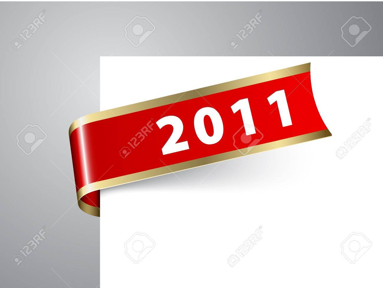 fresh new year corner ribbon on a red paper with golden borders stock vector 8415063