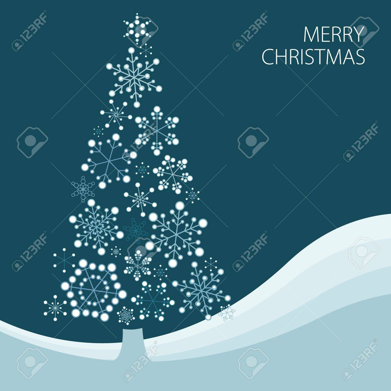 Christmas tree made from simple abstract snowflakes Stock Vector - 8415130