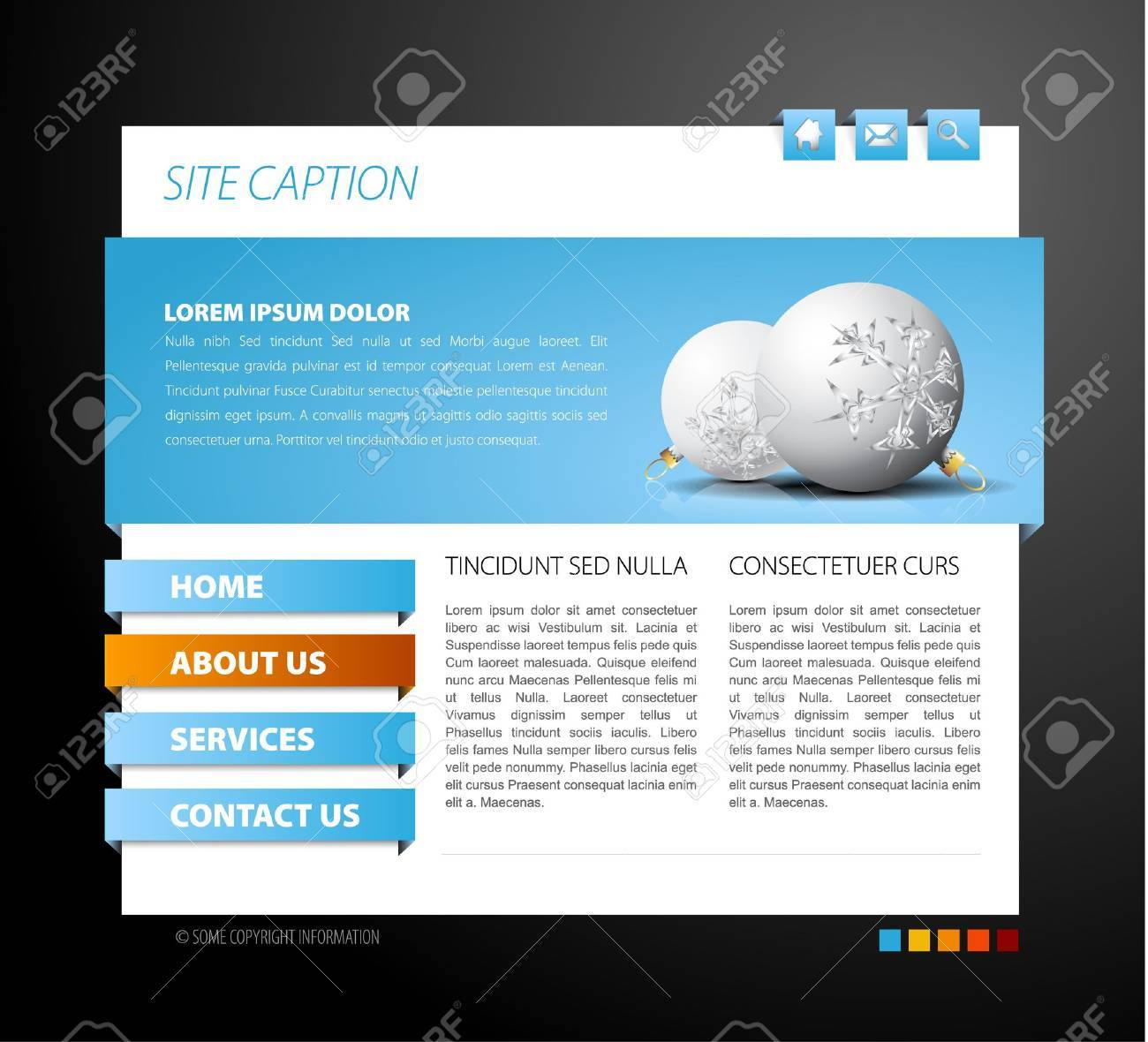 Christmas web page template - with 3d navigation items Stock Vector - 8415362