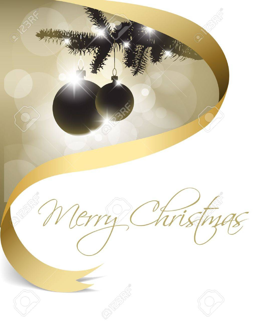Christmas card with some decorations and golden ribbon Stock Vector - 8415338