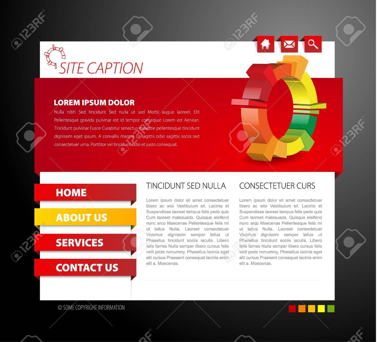 Modern web page template - with 3d navigation items Stock Vector - 8859085