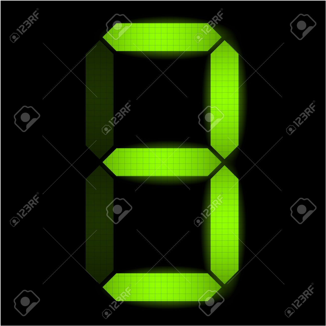 Digital number three - check my portfolio for other numbers from the set Stock Vector - 8996032