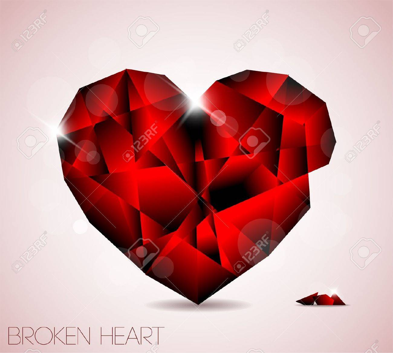 Broken red diamond jewel heart - Valentines element for a card Stock Vector - 9058123