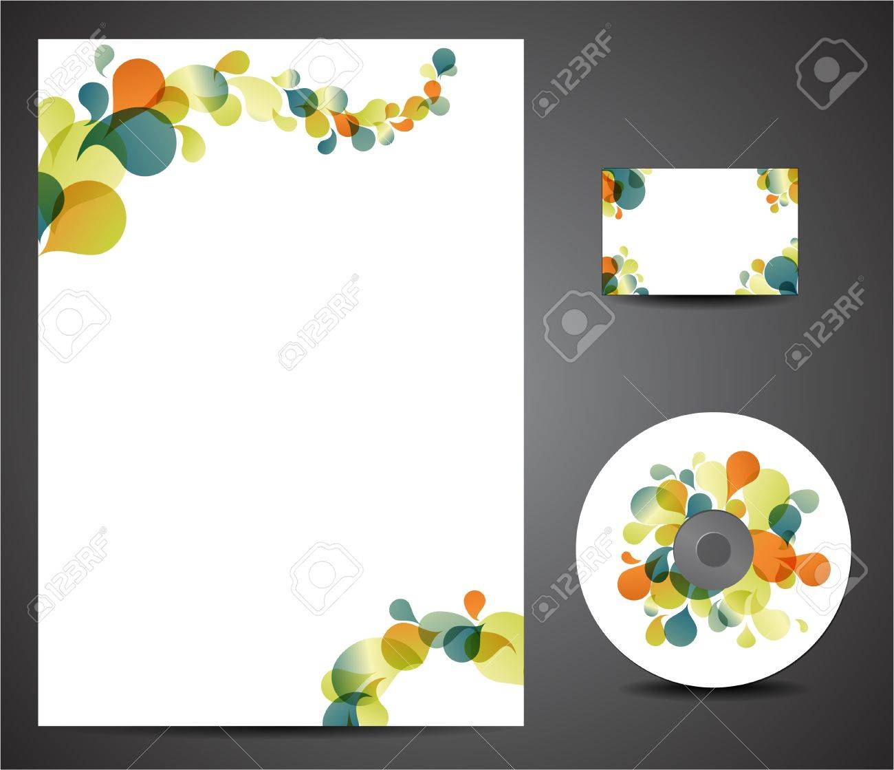 Retro Design Template Set - Business Card, Cd, Paper Royalty Free ...