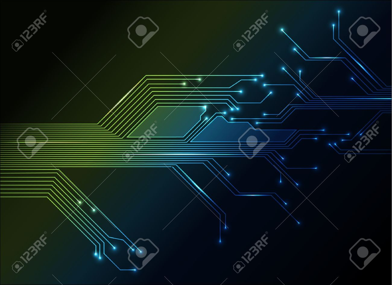 electronic circuit abstract green and blue background Stock Vector - 9466309