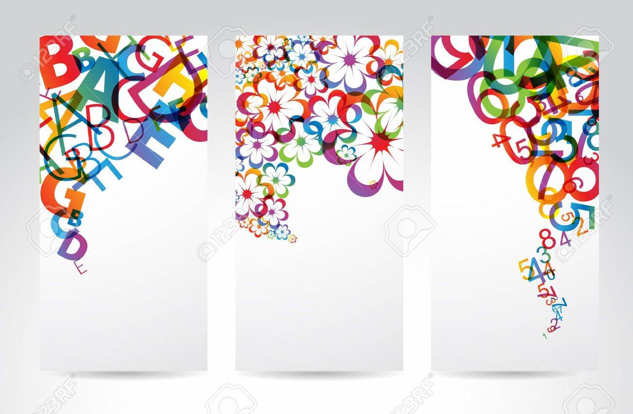 Vertical Banners with colorful rainbow numbers, letters, flowers Stock Vector - 9572100