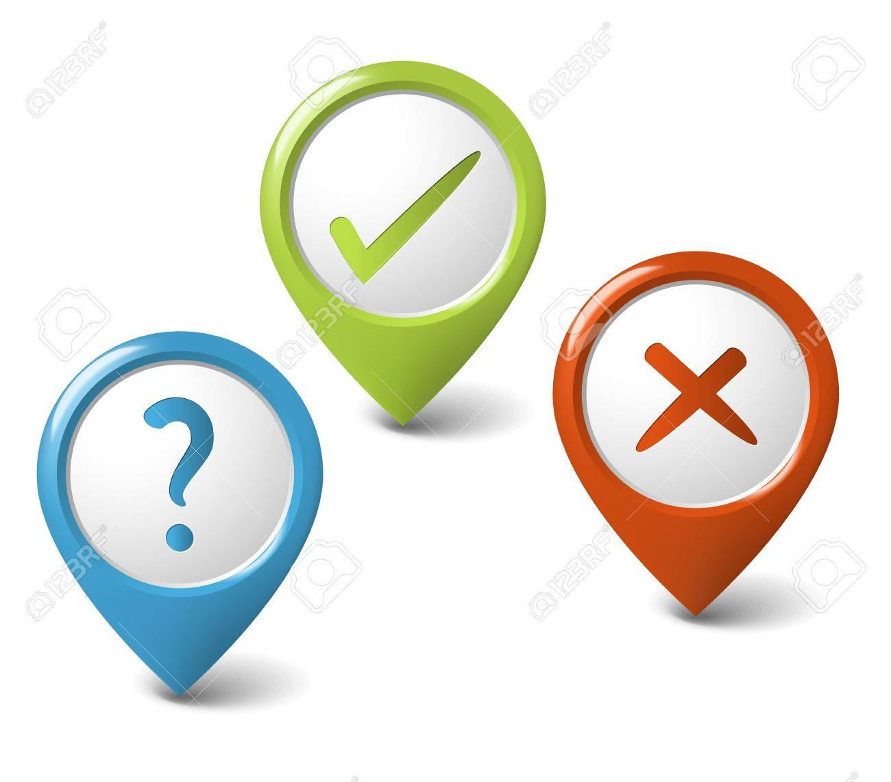 Set of round 3D pointers -question, cancel, ok Stock Vector - 9942158