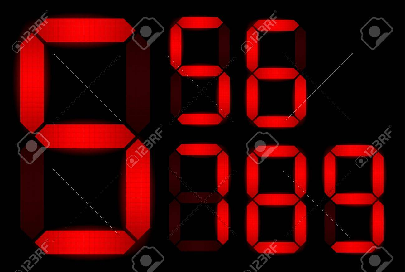 Set of digital numbers - check my portfolio for other numbers from the set Stock Vector - 9942191