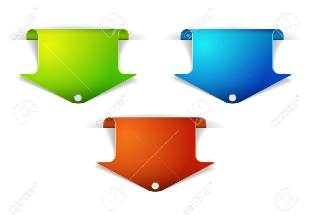 Set of colorful arrow bookmarks - arrow pointing at the content Stock Vector - 9930963