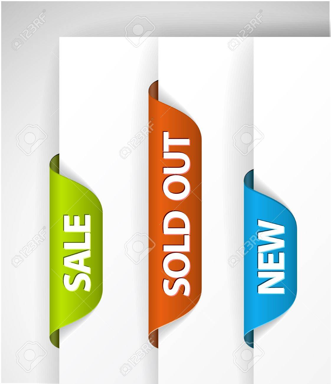 Set of eshop tags for new, sale and sold out items - blue, green and red - 9946536