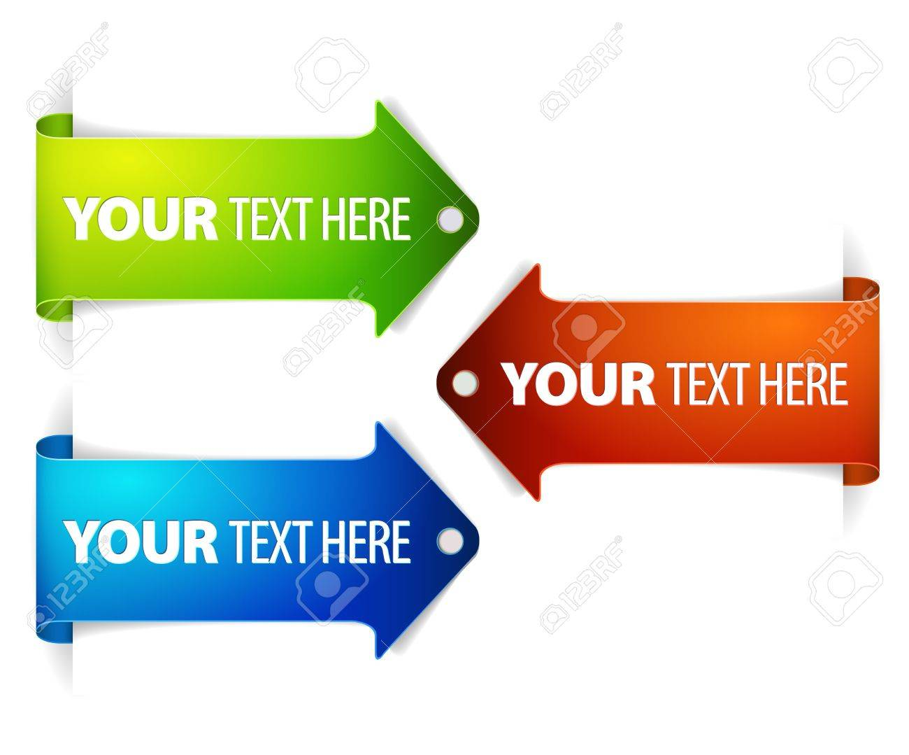 Set of long horizontal colorful arrow bookmarks - arrow pointing at the content with sample text Stock Vector - 9946544