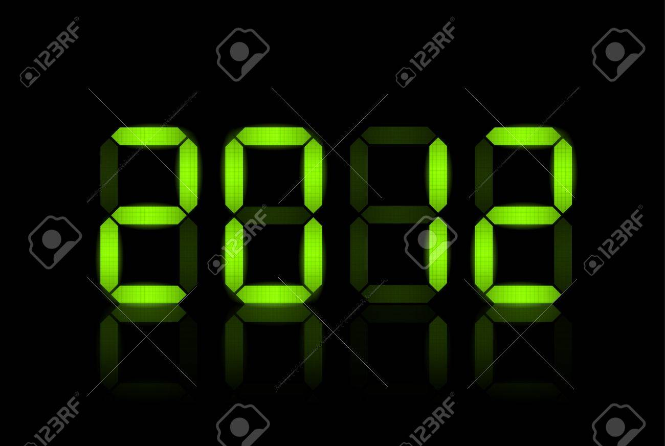 Vector New Year card 2012 - green lcd numbers Stock Vector - 10470730