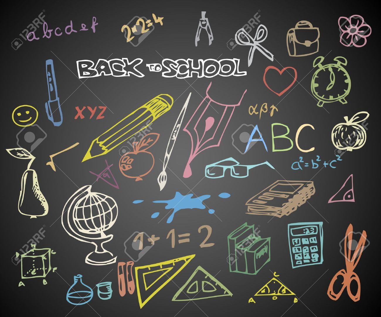 Back to school - set of school doodle vector illustrations on blackboard Stock Vector - 10470707