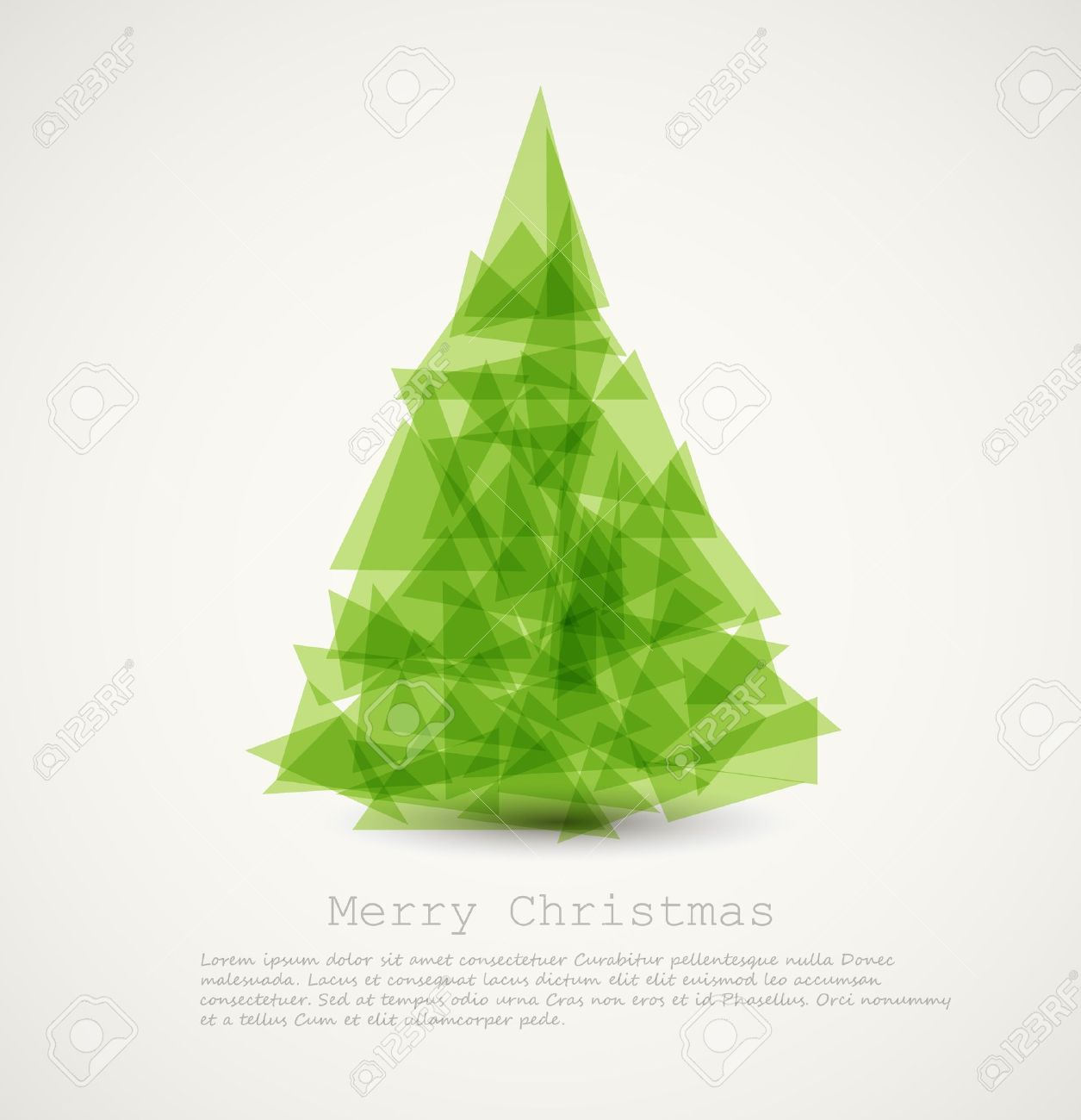 Vector Modern Card With Abstract Green Christmas Tree Royalty Free ...