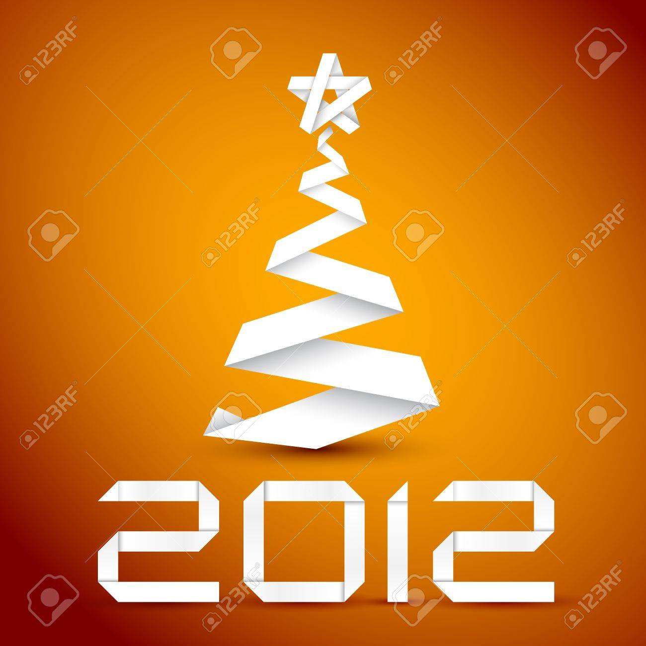 Simple vector christmas tree made from white paper stripe - original new year card Stock Vector - 10626549