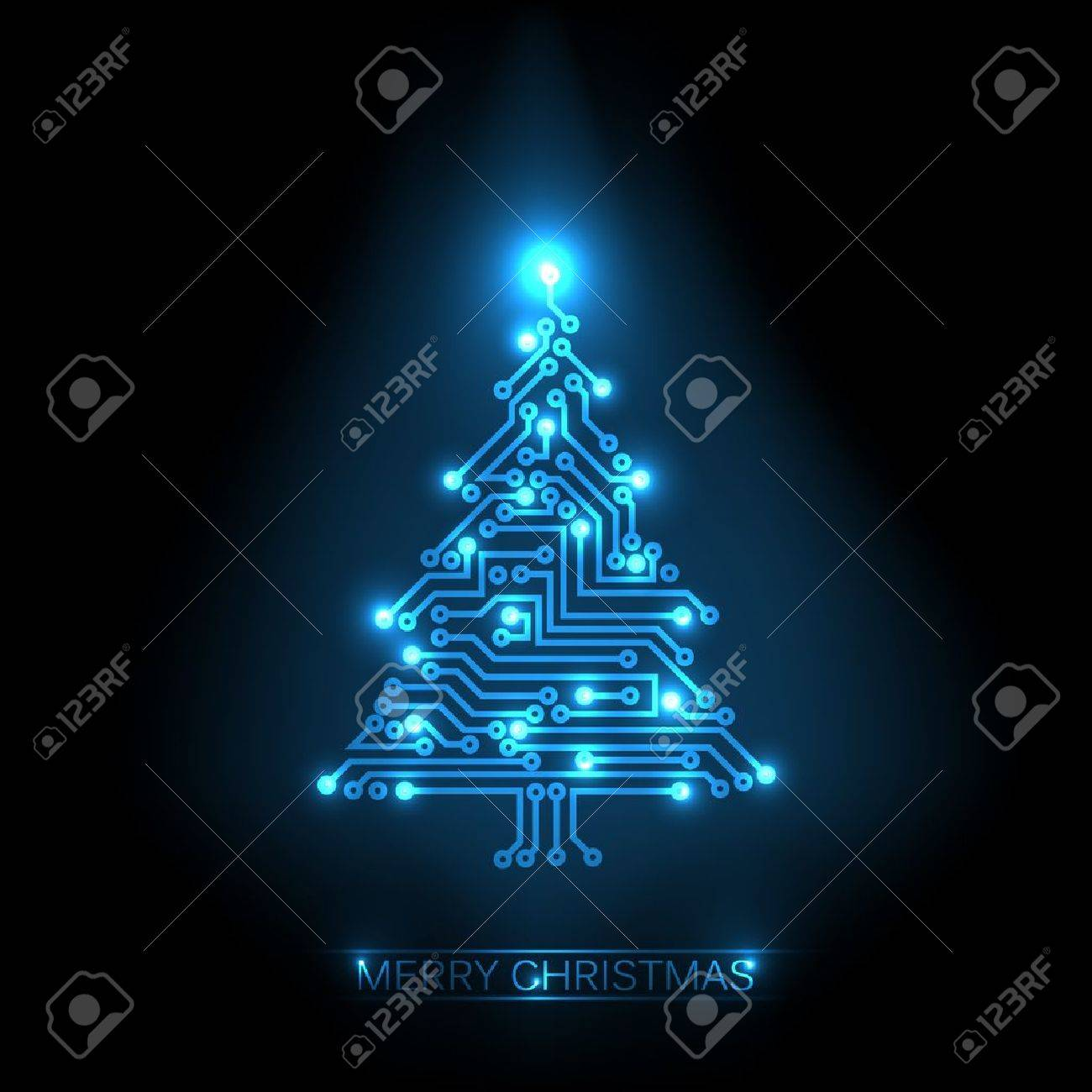 christmas tree from digital electronic blue circuit and lights - 10859543