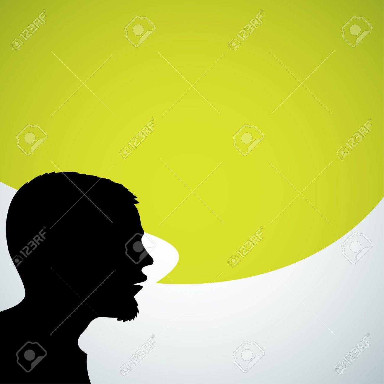 Abstract speaker silhouette with big green bubble - place for your content Stock Vector - 11099705