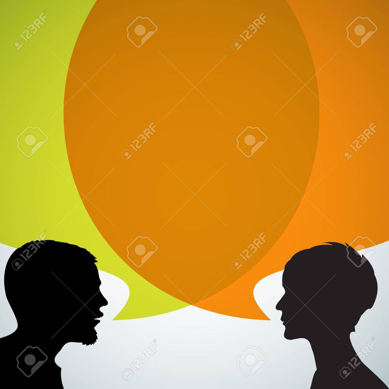 man interview stock illustrations cliparts and royalty man man interview abstract speakers silhouettes big orange bubble chat dialogue talk