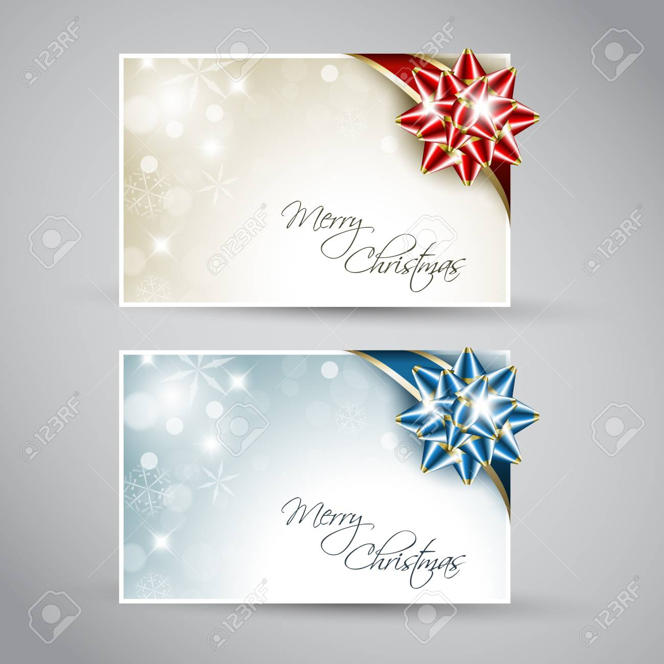 Set Of Christmas / New Year Cards With Ribbon Royalty Free Cliparts ...