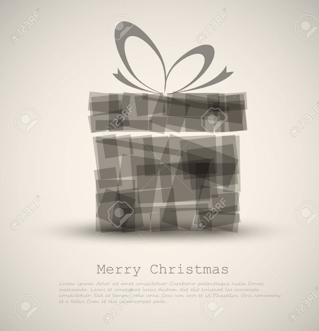 Simple Christmas card with a gift made from rectangles Stock Vector - 11273126