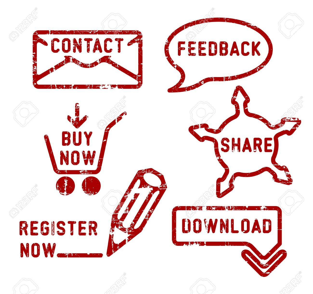 Simple red vector contact, feedback, share, buy, download, register stamps Stock Vector - 11535271