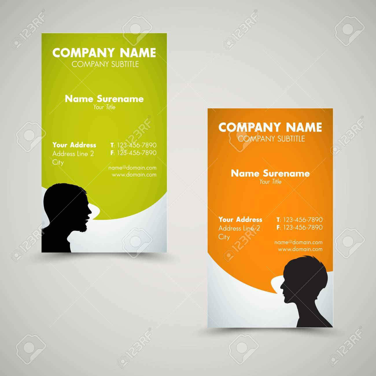 Vector Set of modern business card templates for man and woman Stock Vector - 11892889