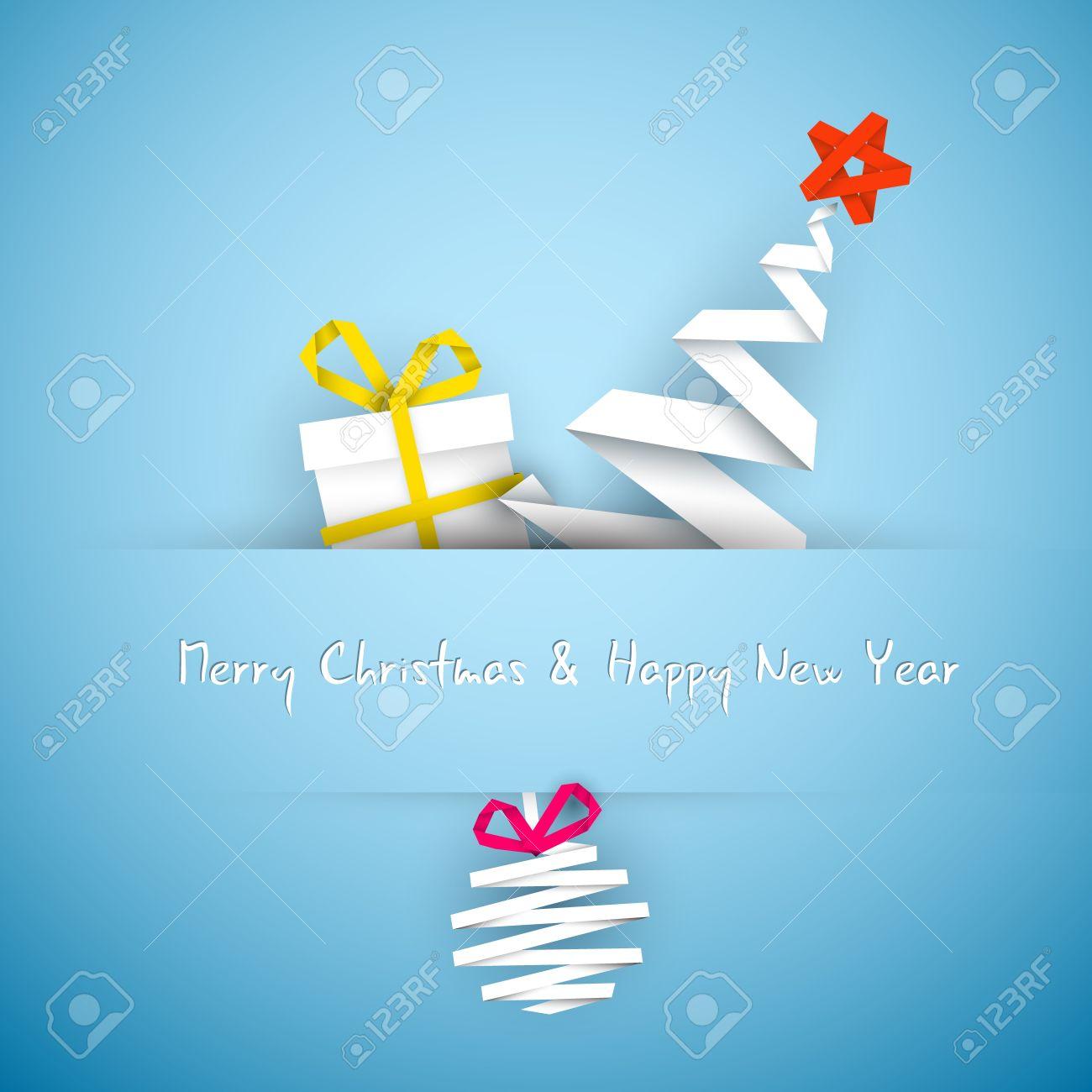 simple vector azul tarjeta de navidad con el regalo los rboles y adorno hecho de