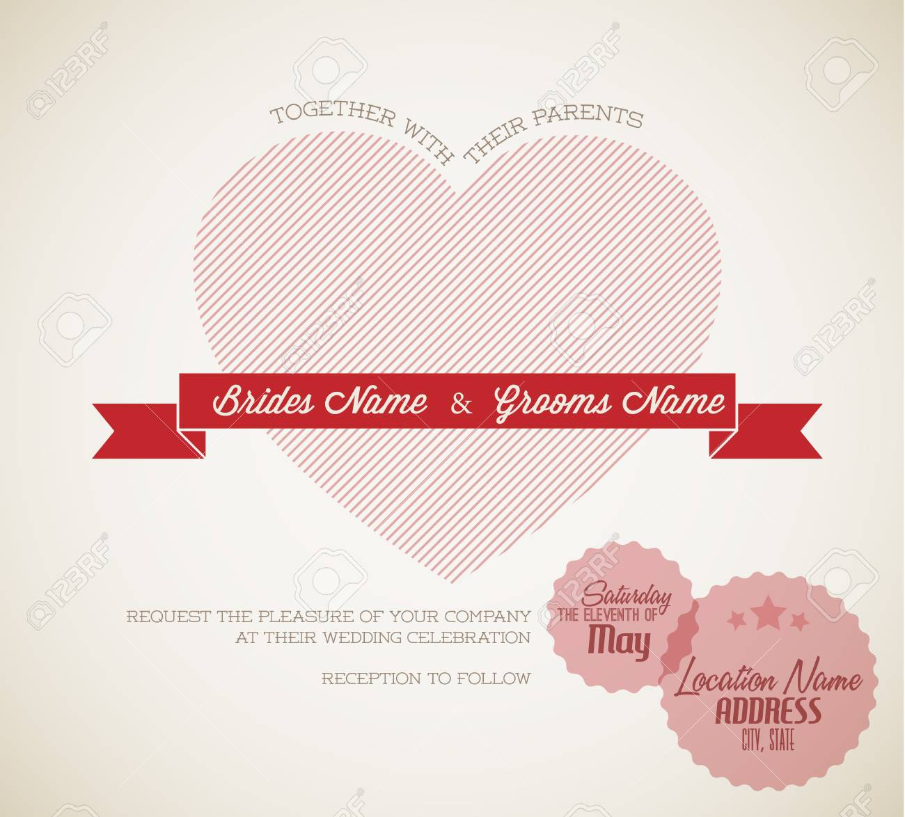 Vector Retro Wedding Invitation With Big Red Heart And Ribbon ...