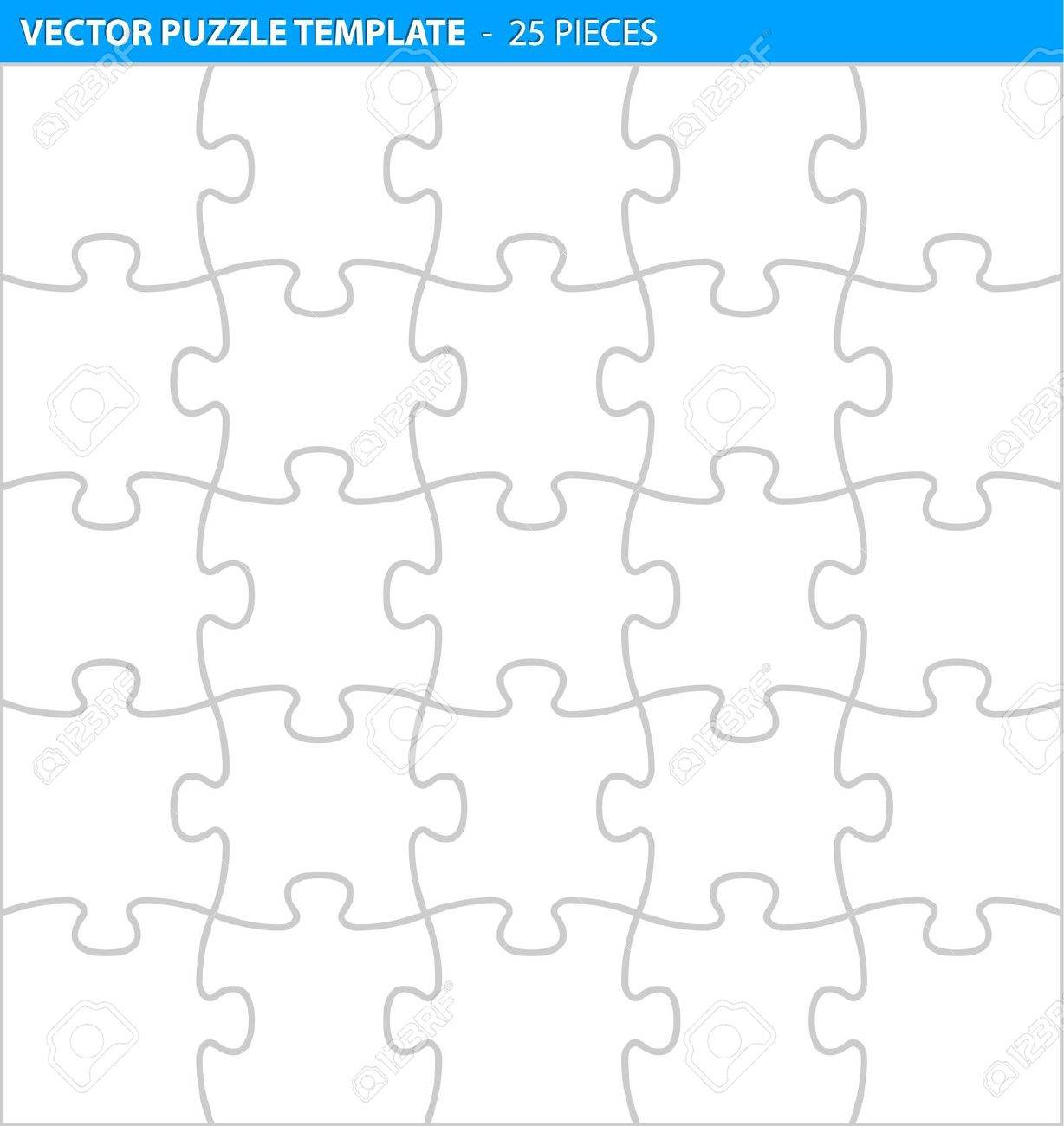 complete puzzle jigsaw template for print 25 pieces royalty