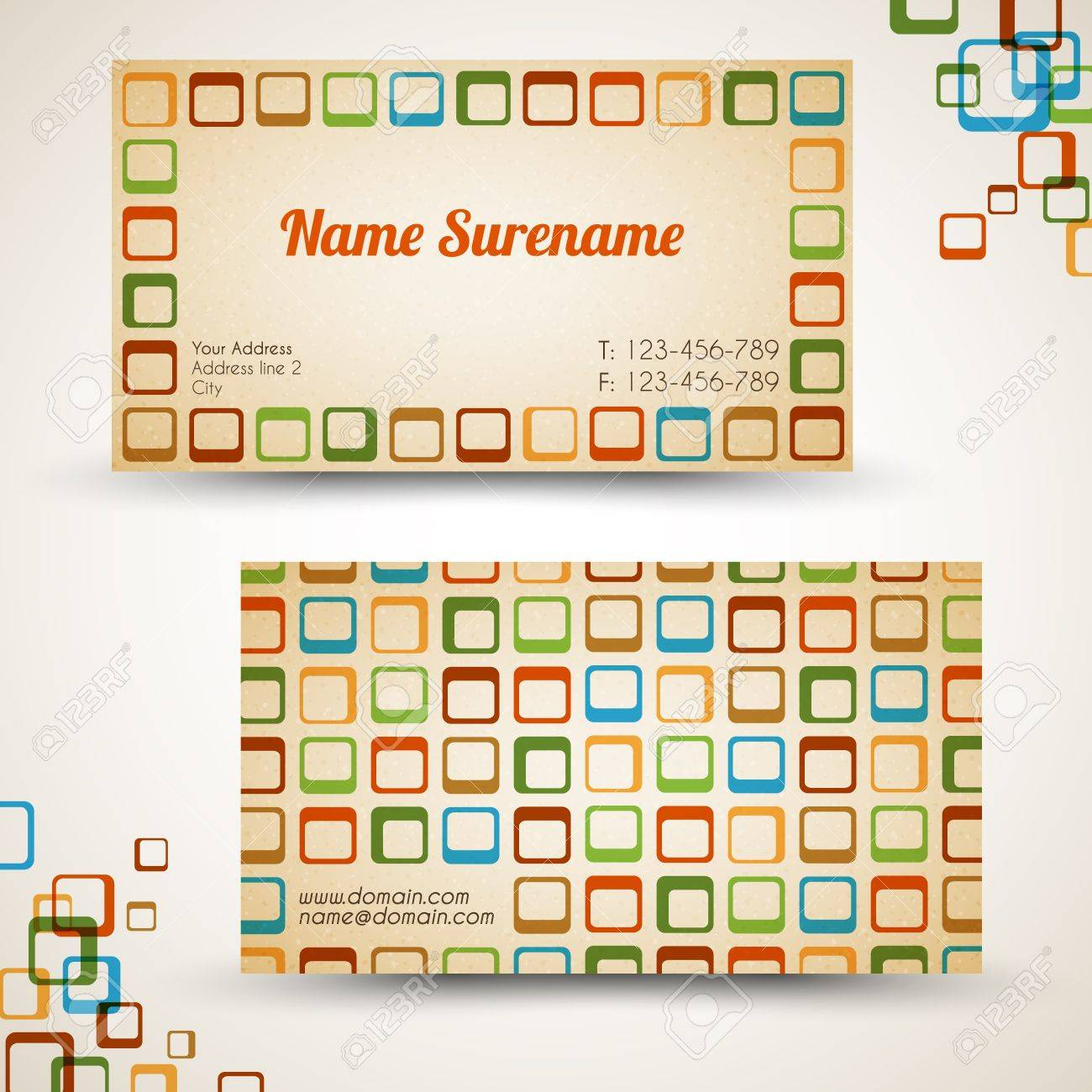 Vector old-style retro vintage business card - both front and back side Stock Vector - 12324878