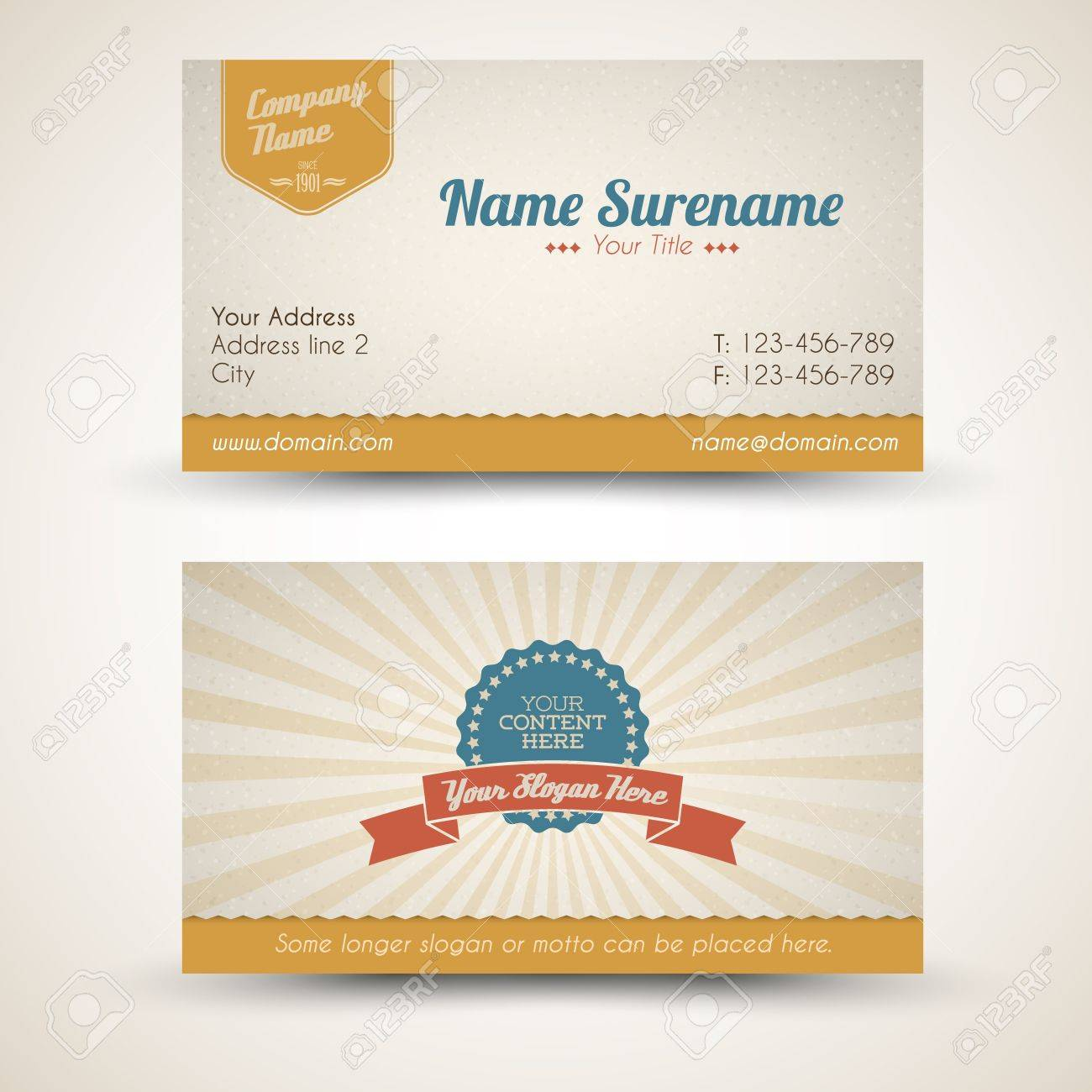 Old-style Retro Vintage Business Card Both Front And Back Side ...