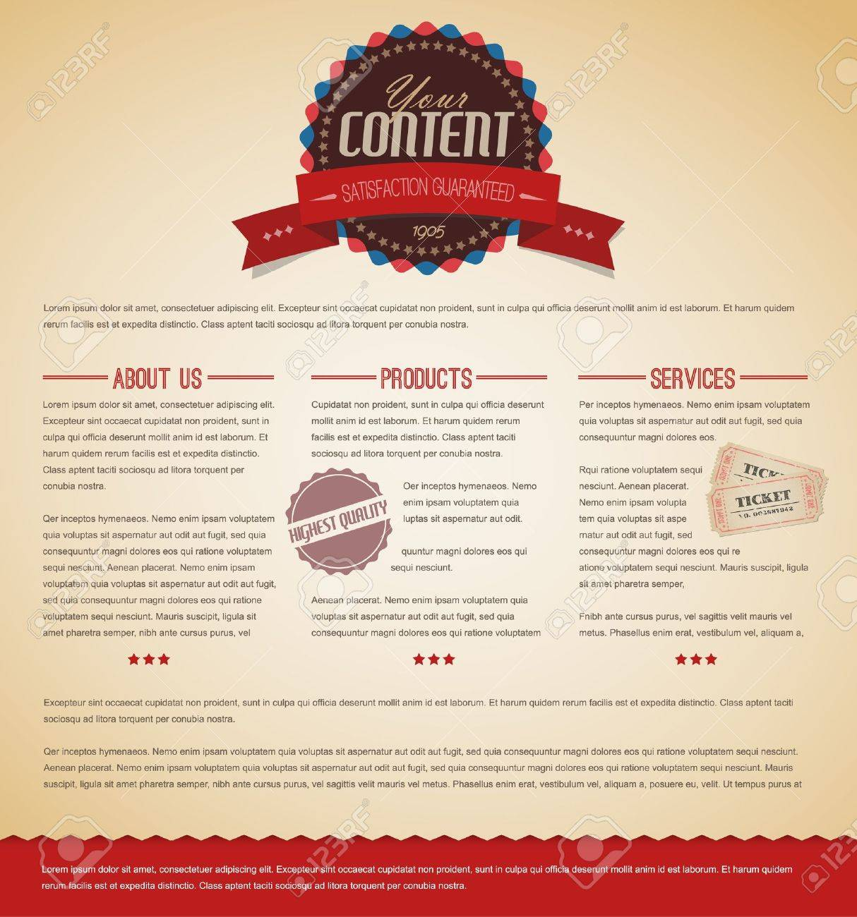 Retro vintage grunge web page template - red version Stock Vector - 12900192