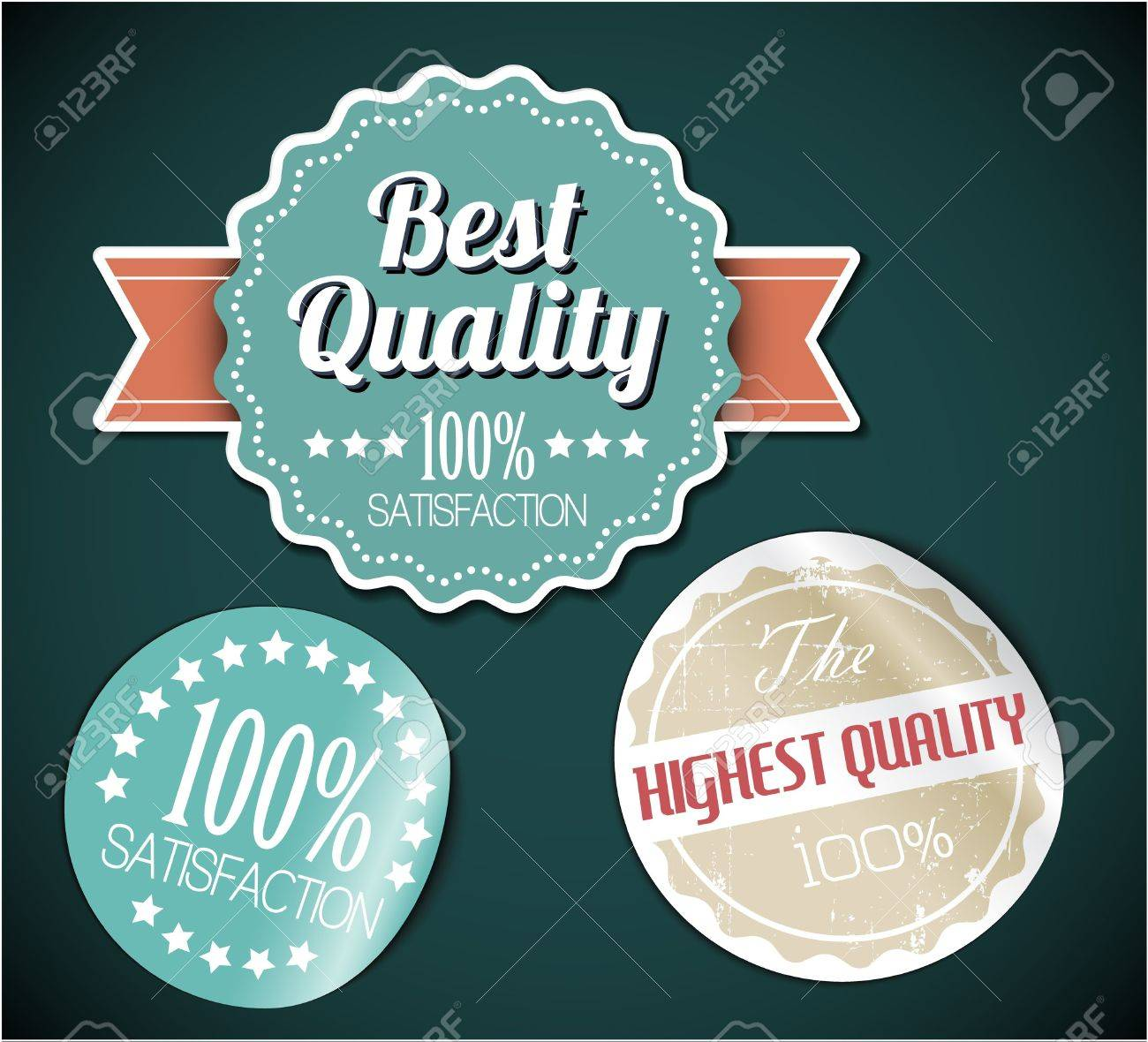 Old vector round retro vintage grunge stickers - best quality Stock Vector - 13129296