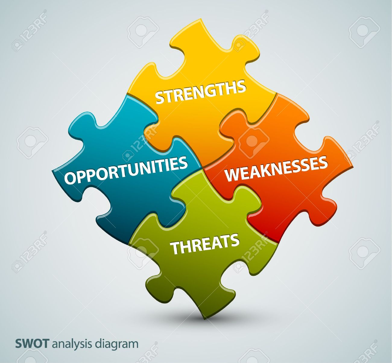 Vector SWOT illustration made from four colorful puzzle pieces Stock Vector - 13308916