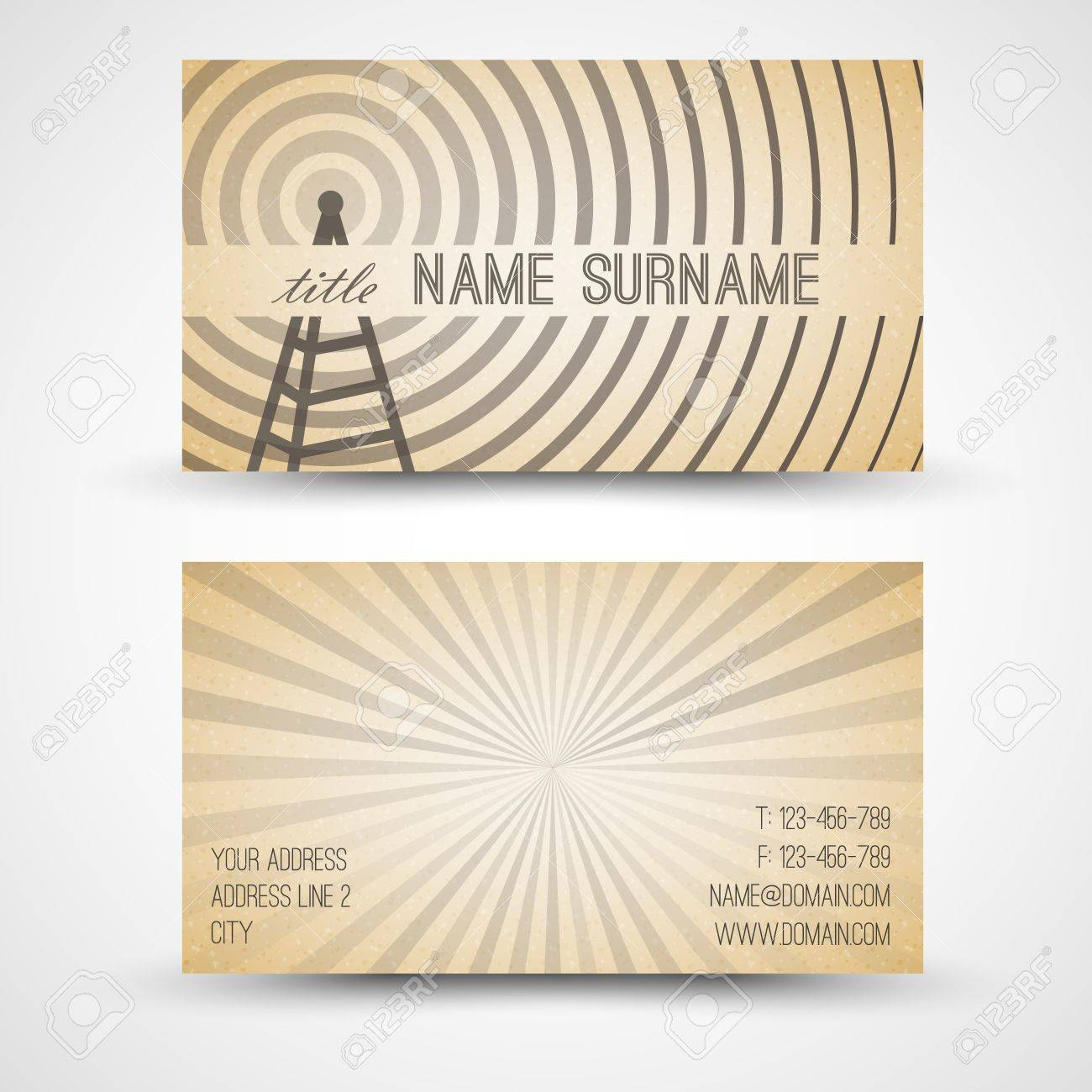 Vector Old-style Retro Vintage Business Card - Both Front And ...