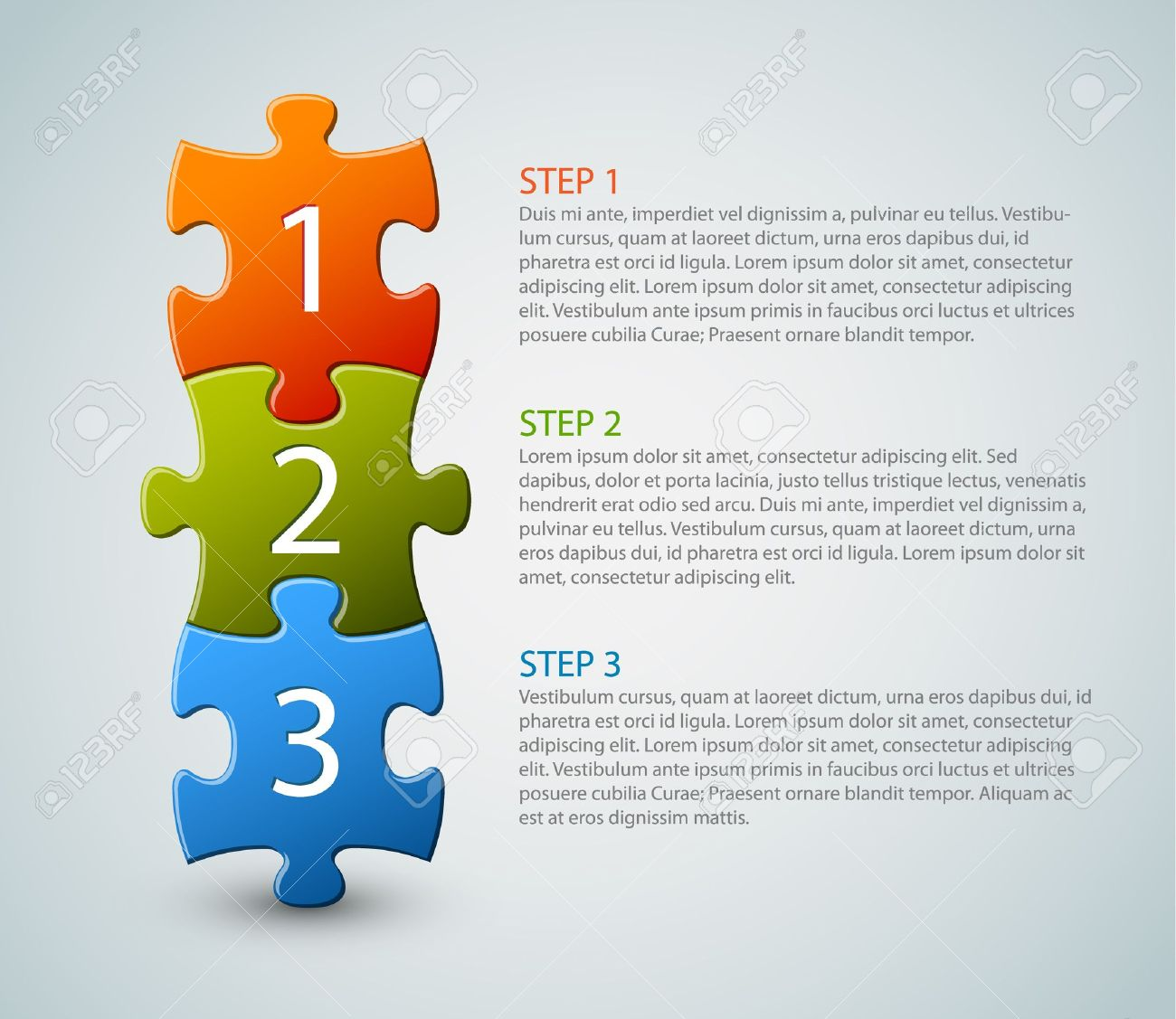 One two three - progress icons for three steps Stock Vector - 13950105