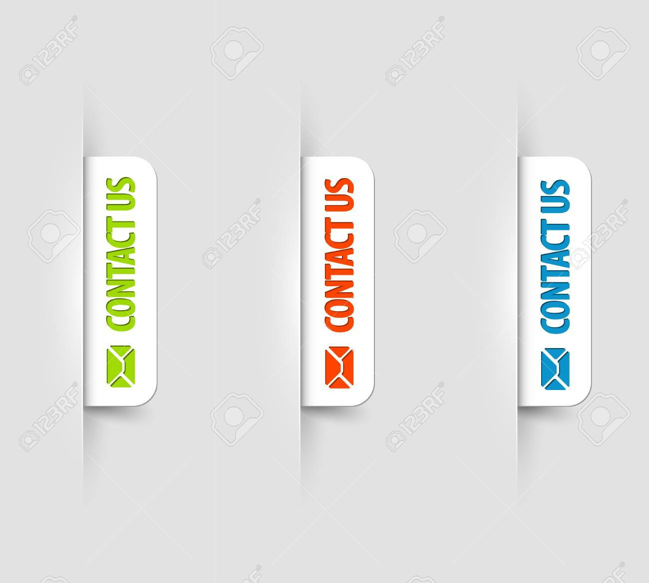 white and color contact us Labels / Tags on the (web) page Stock Vector - 13950110