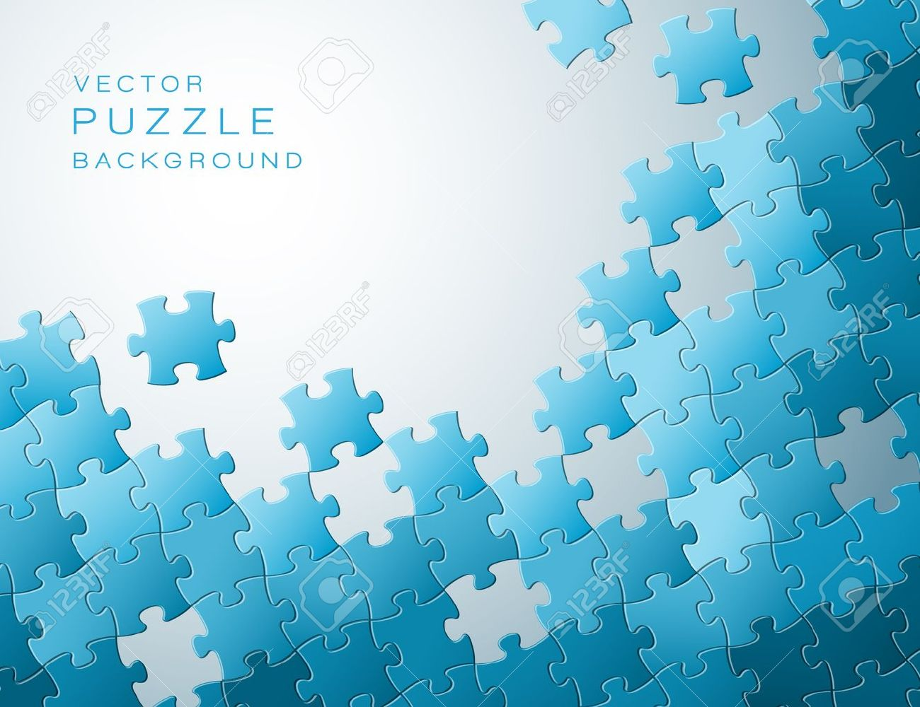 Abstract background made from blue puzzle pieces and place for your content - 14067192