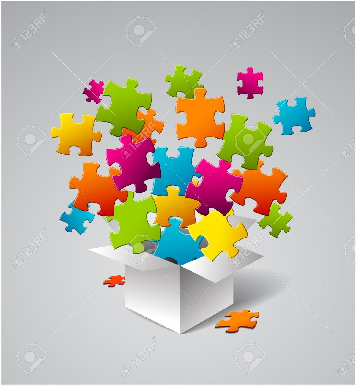 White box full of colorful puzzles Stock Vector - 14398250