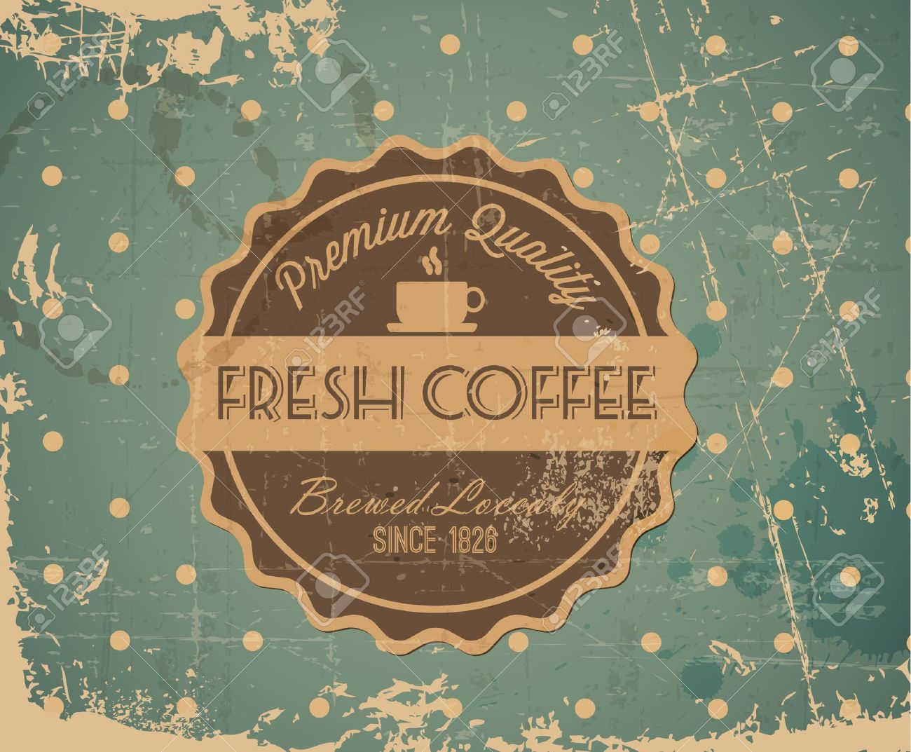Grunge Retro Vintage Hintergrund Mit Kaffee Label Und Platz Für