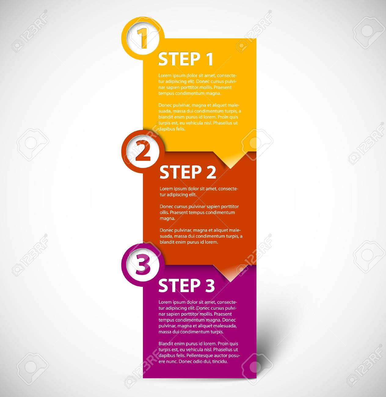 One two three - vector paper progress steps for tutorial Stock Vector - 14660772