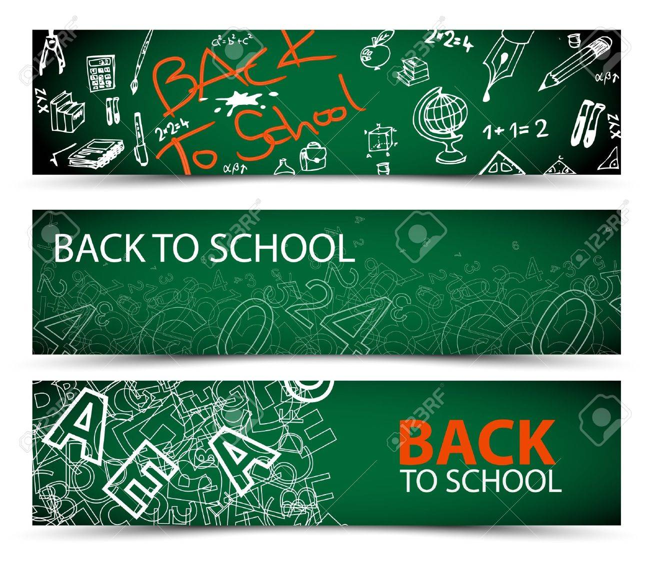 Back to School vector banners with drawings, doodles and letters Stock Vector - 14776678