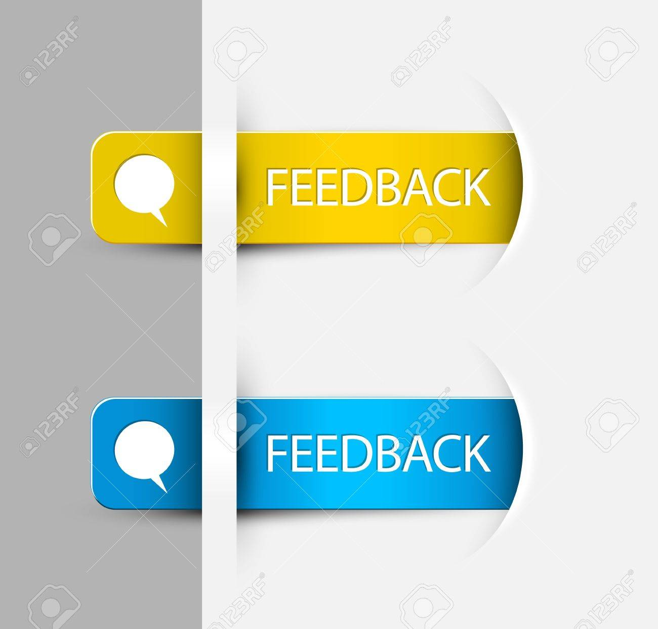 Yellow and blue Feedback Labels / Stickers on the edge of the (web) page Stock Vector - 15089590